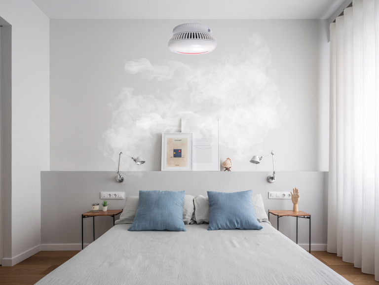 smoke detector in a room